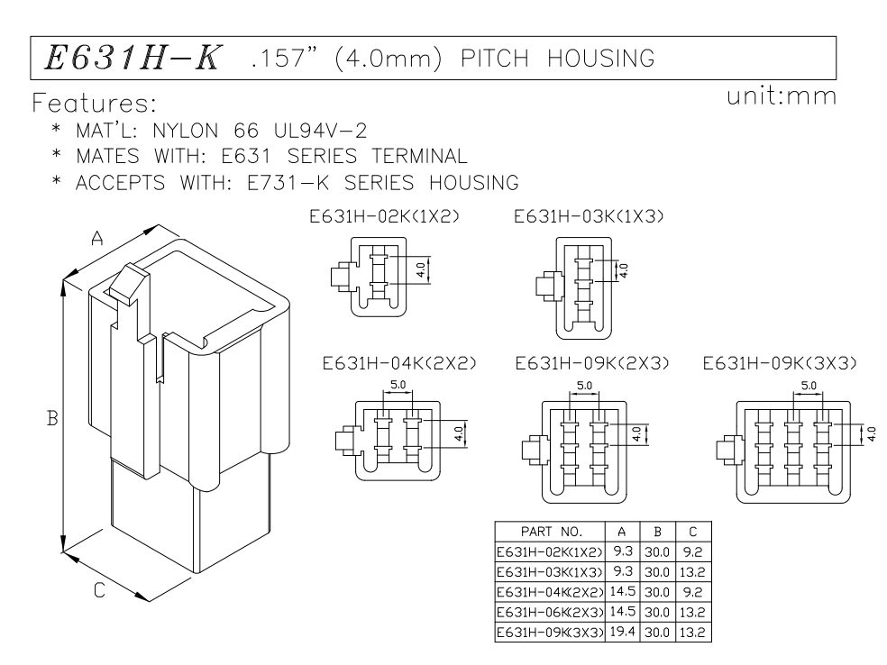 4.0 pitch wire to wire connector plug housing data sheet