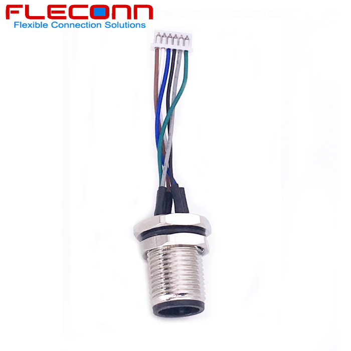 M12 Male Panel Mount Connector, 6 Contacts with Litz Wires.jpg