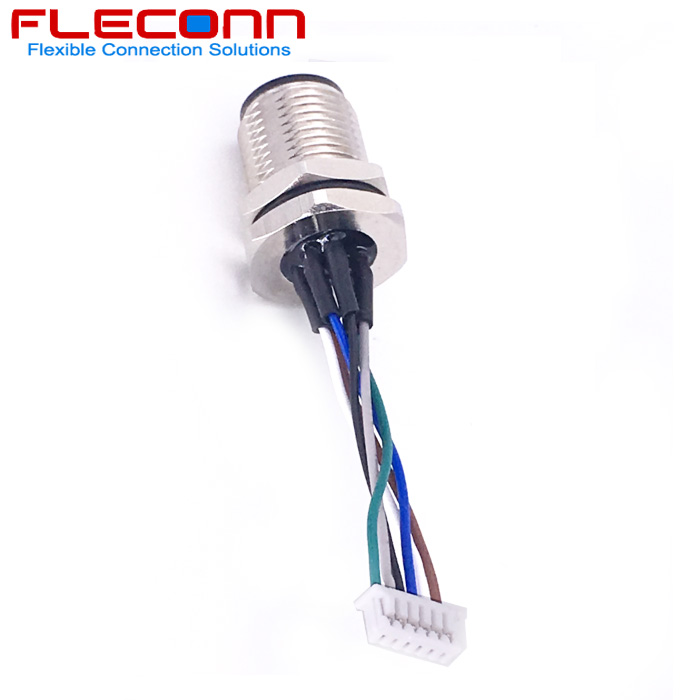 M12 6 Pole Rear Mount Connector with UL 1571 28AWG Wires Harness.jpg