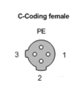 m12 c-code 4 contact (3pin+PE) female connector pin layout diagram