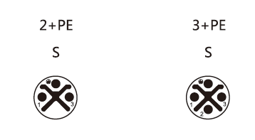 M12 S-coding 2+PE, 3+PE male connector pin layout faceview