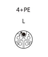 M12 L-coded Connector female 4+PE pin contact layout diagram