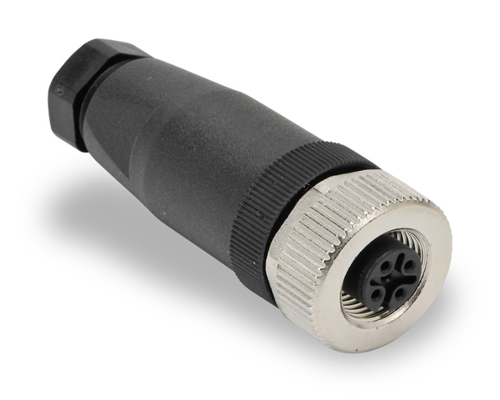 M12 Female Connector, Plastic Shell, Assembly Type PG9 Thread