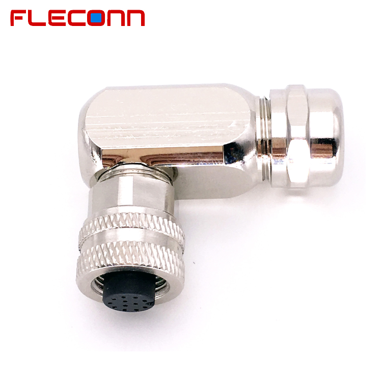 12 Pin M12 Right Angled Female Connector, Shieldable Metal Shell