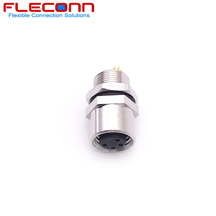 M8 4 Pin Female Panel Mount Connector IP67 Waterproof Rating