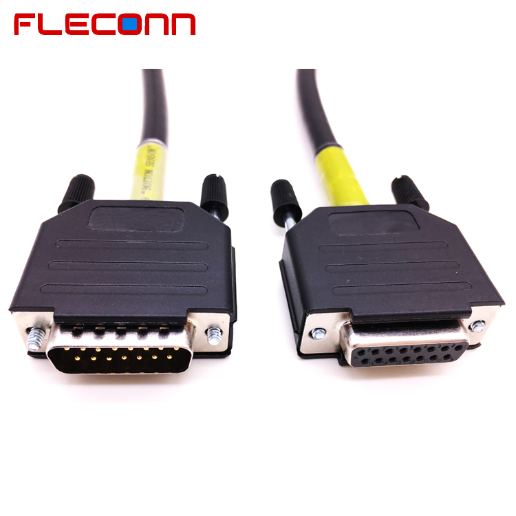 DB15 Male to Female Cable, Connector with Plastic Assembly Backshell