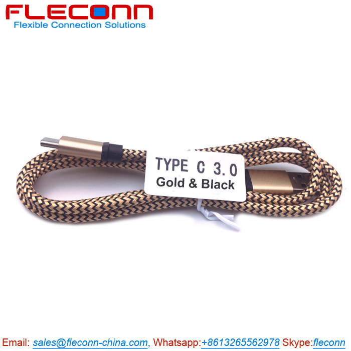 USB to USB C Cable on FLECONN, Golden Nylon Braided USB-C Cable