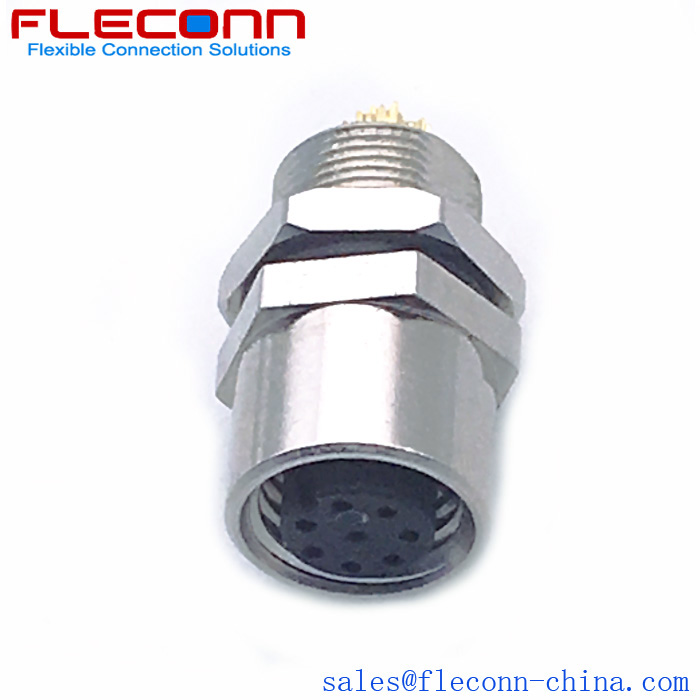 M8 8 Pin Female Panel Mount Connector, Rear Fastening Thread M8x0.5