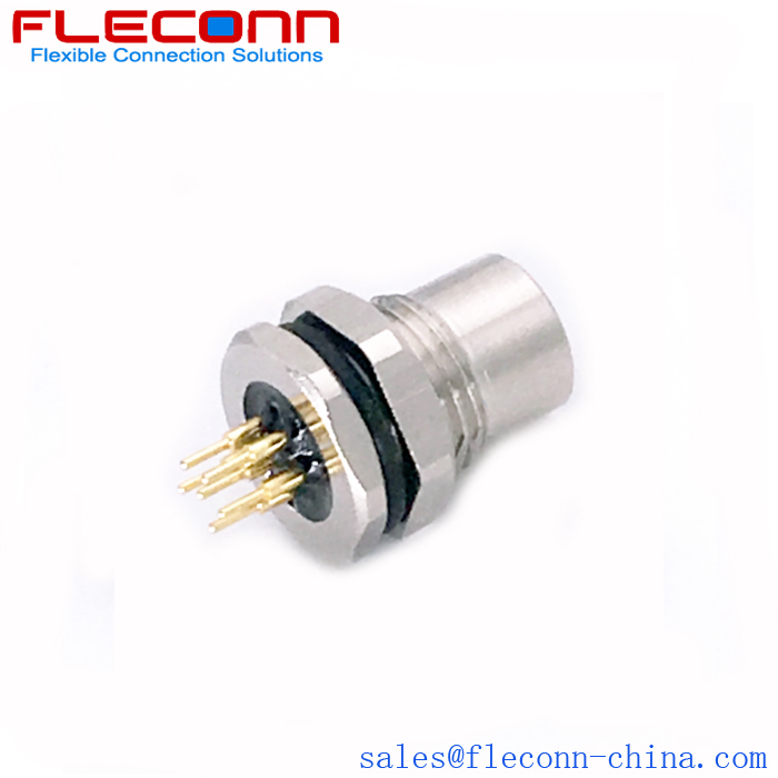 M8 6 Pole Female Panel Mount Connector, Front Fasoning Thread
