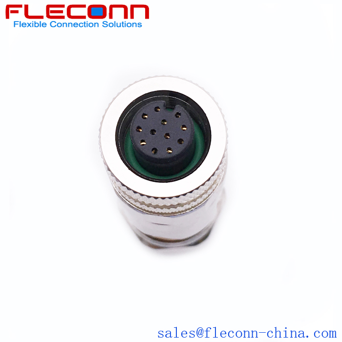 M12 12-Pin Female Receptacle For Field Installable Cable Connector